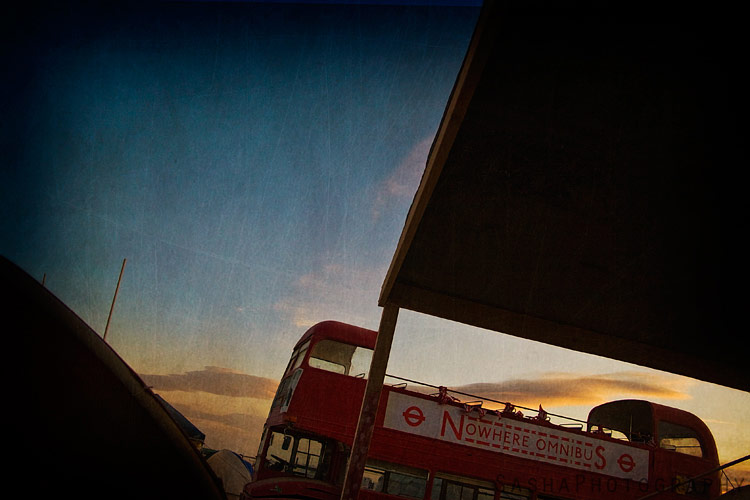 The Nowhere Omnibus, a London-style double-decker bus provided transportation at Burning Man 2009.