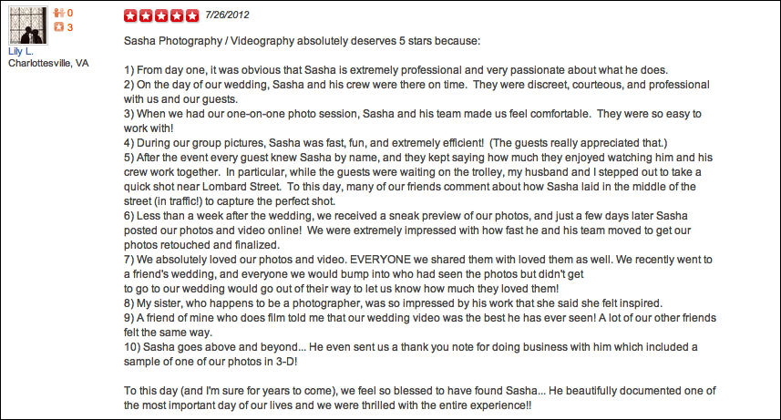 Lily Jeff Yelp Review