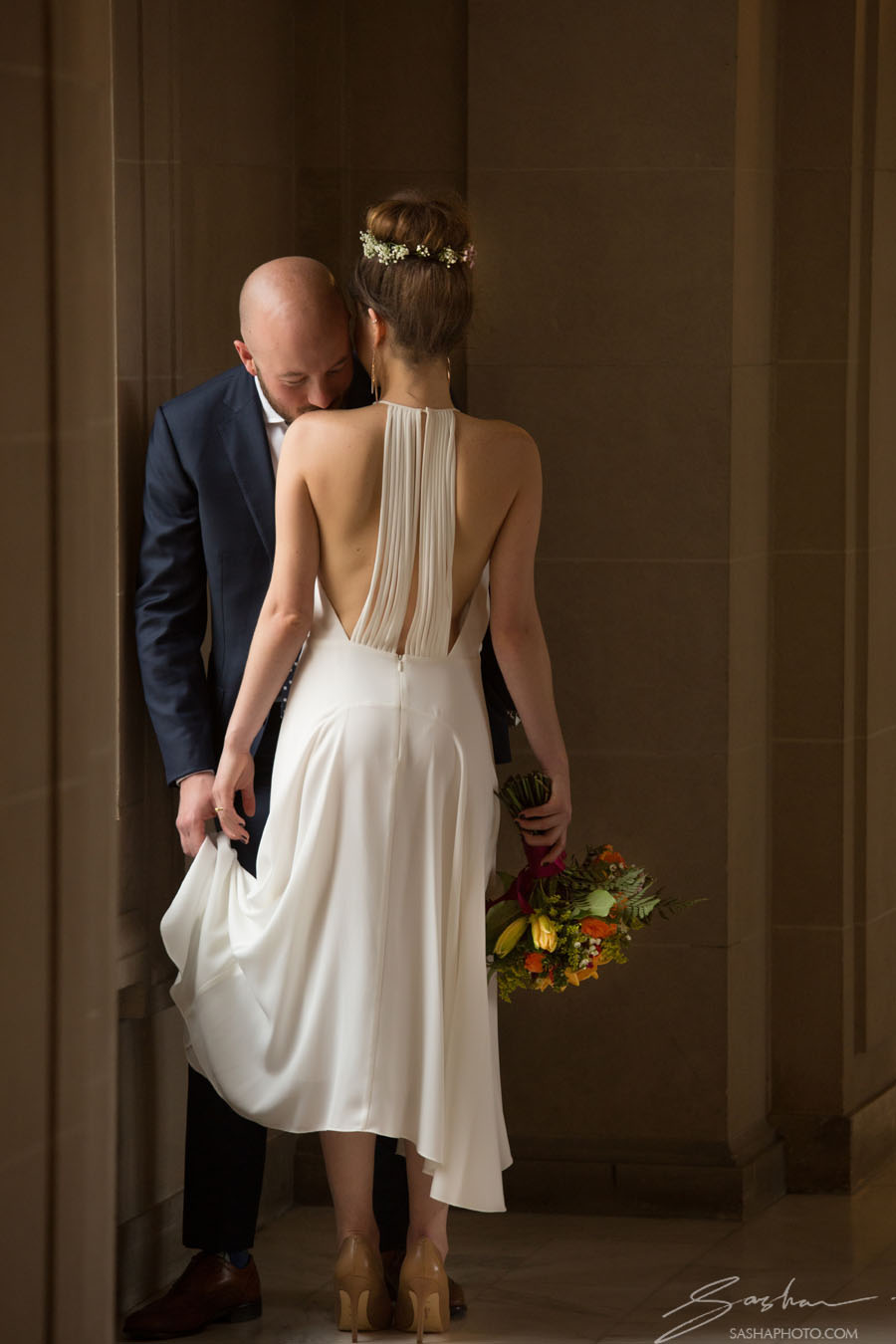 bride open back dress city hall
