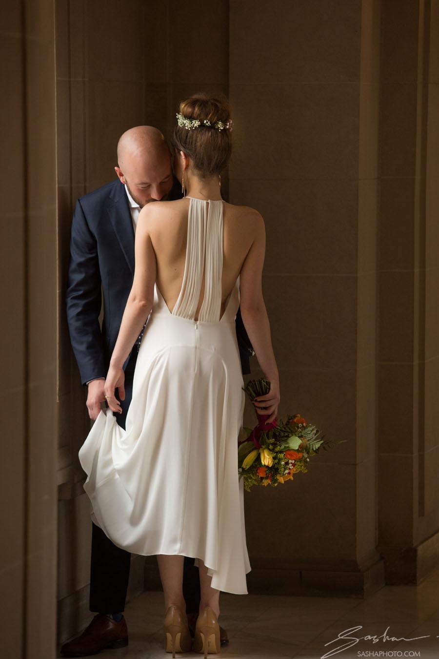 bride open back dress city hall