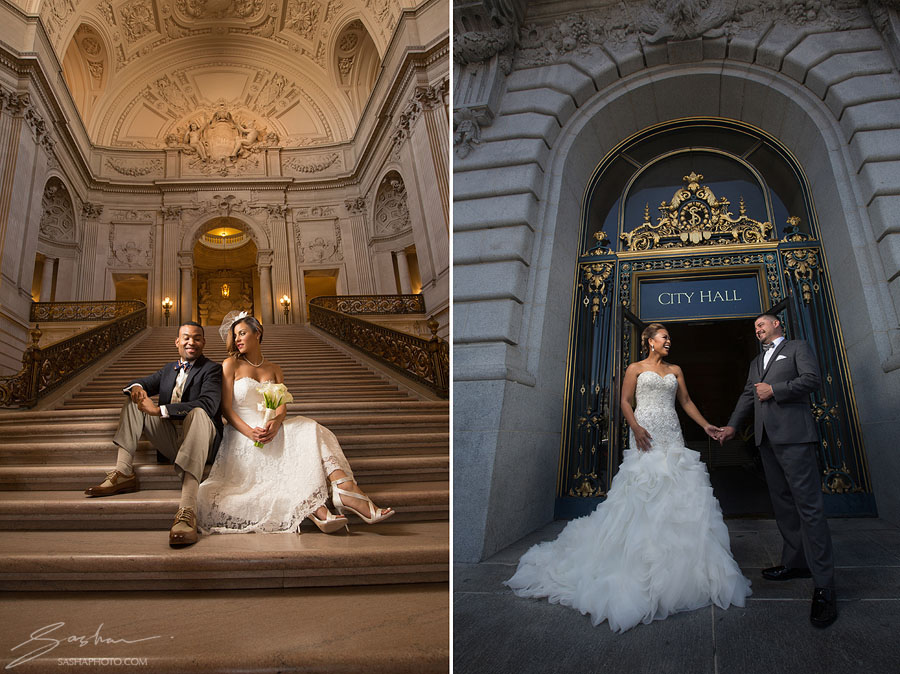 City Hall Staircase Entrance Lace Wedding Dress Sf