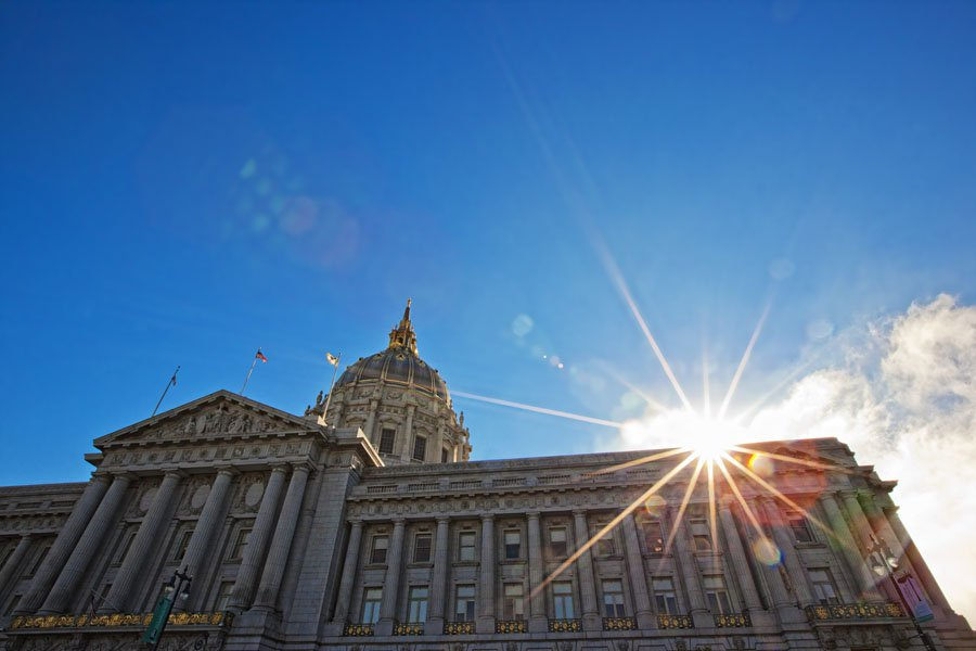 san francisco city hall sunset