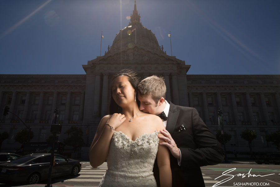 sf city hall wedding couple