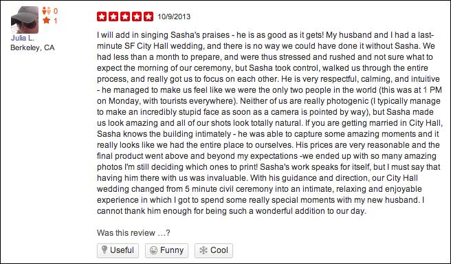 sasha photography review city hall