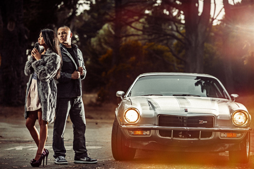 engagement photo with classic car