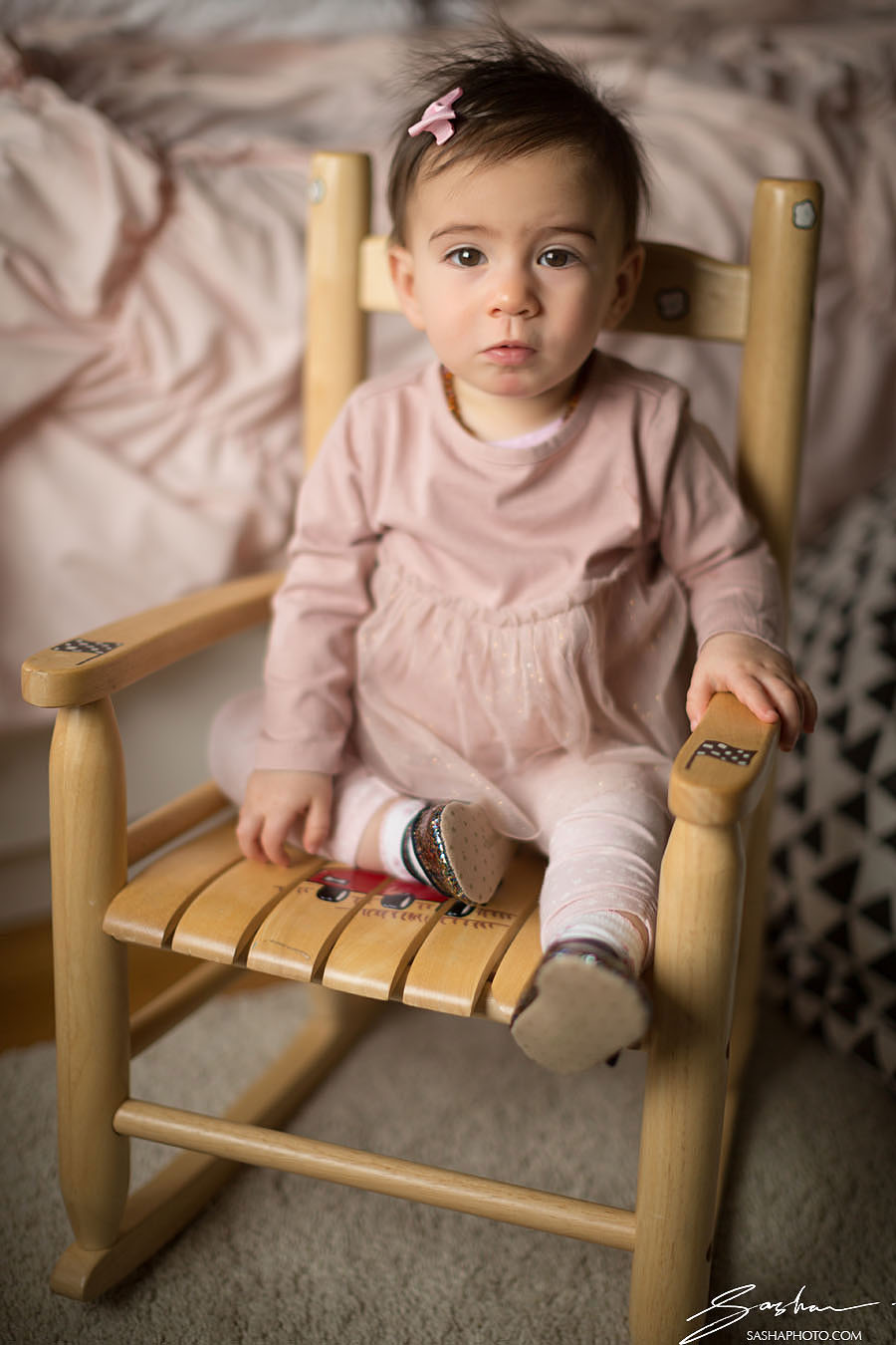 toddler portrait in rocking chair