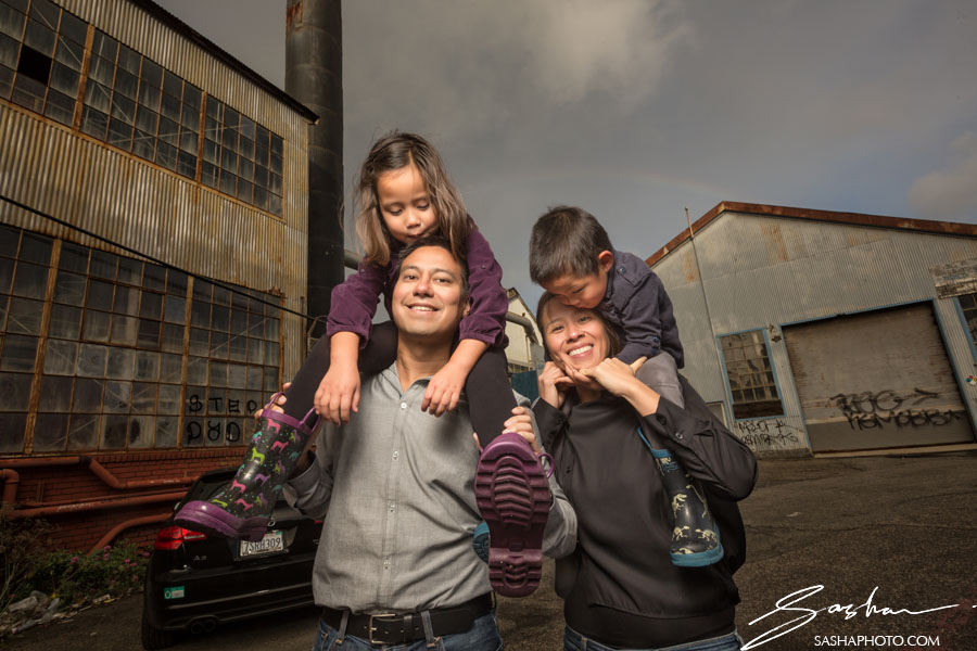 family portrait industrial backdrop