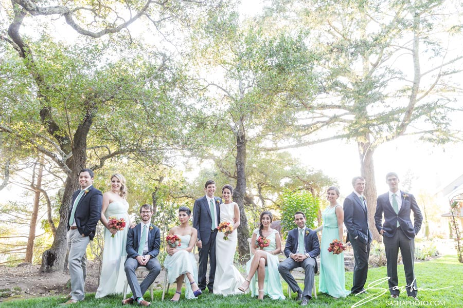 wine country wedding party photo