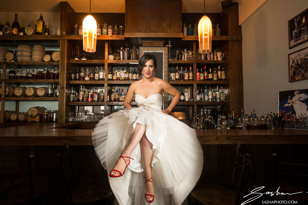 sexy bride on the bar