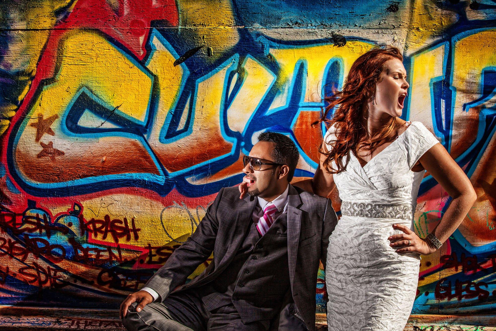 bride groom graffiti wall