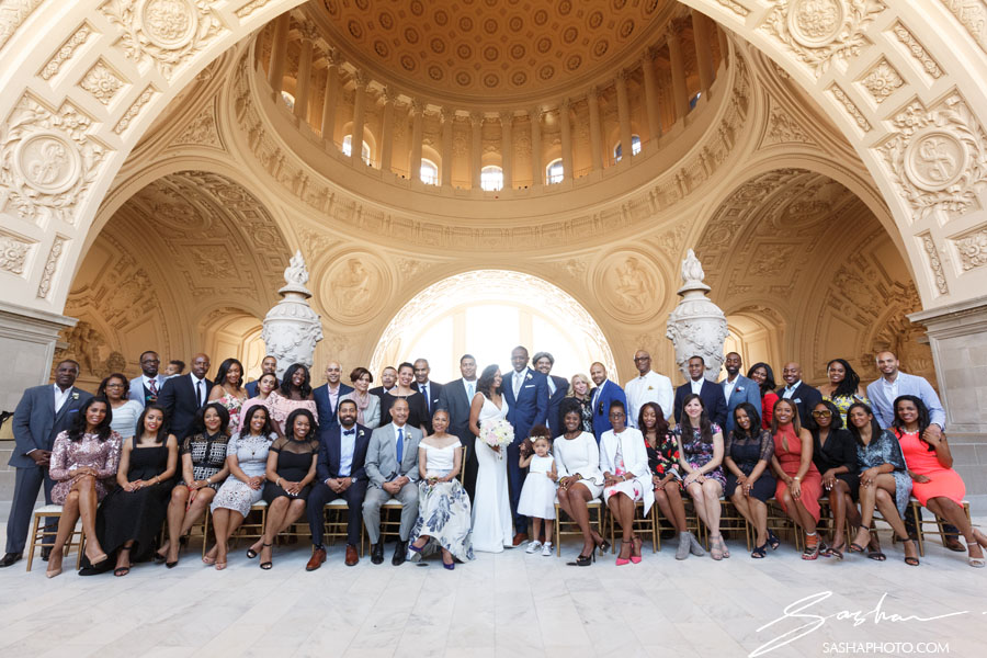 san francisco city hall 4th floor wedding large group photo