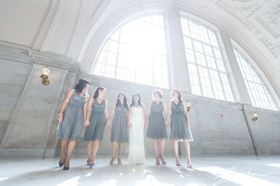 bride and bridesmaids on the 4th floor of city hall