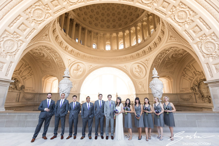 bridal party on the fourth floor of city hall