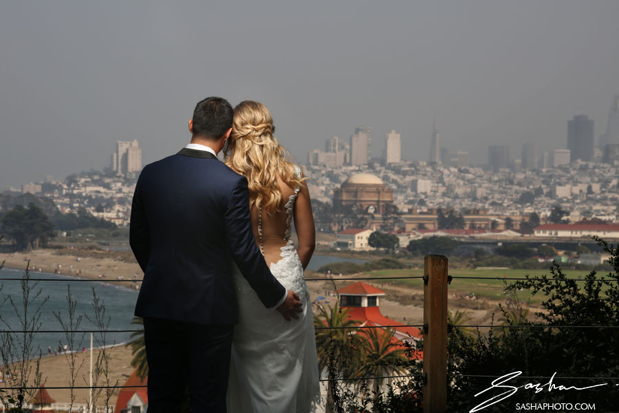 bride groom san francisco skyline