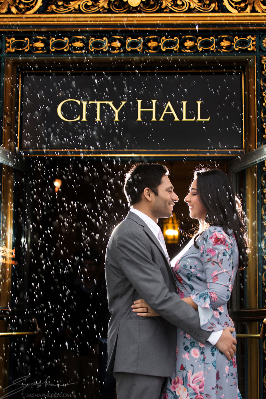 san francisco city hall rain wedding
