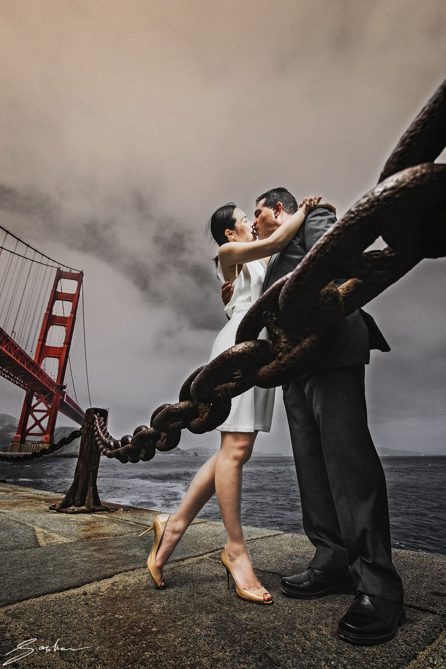 bride nude shoes golden gate bridge