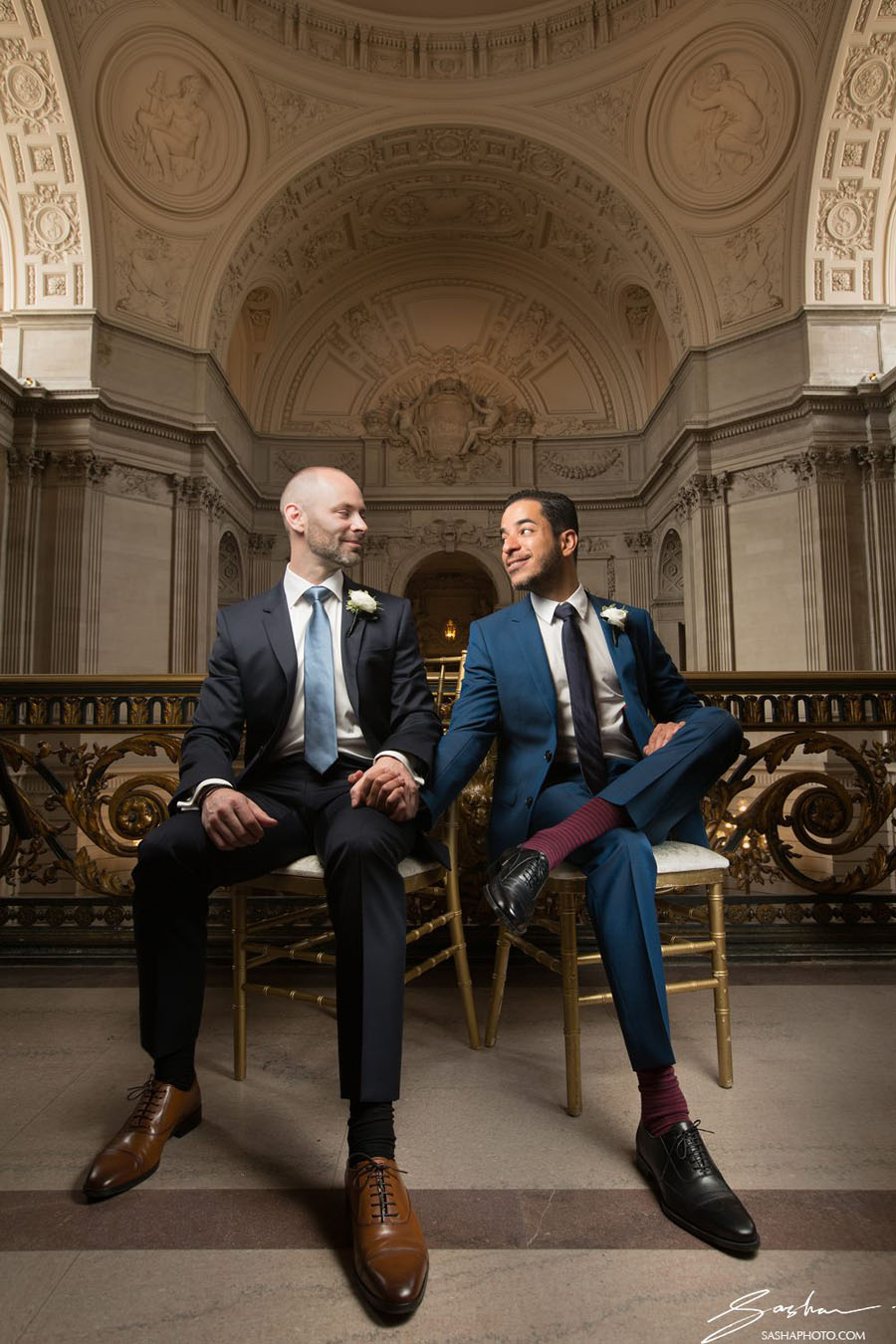 grooms with classic wedding shoes and colorful socks