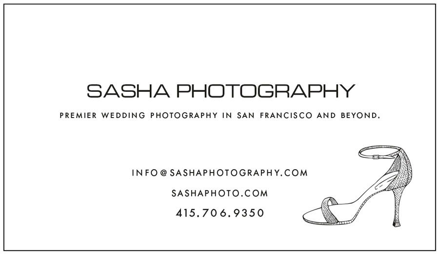 sasha photography business card with shoe