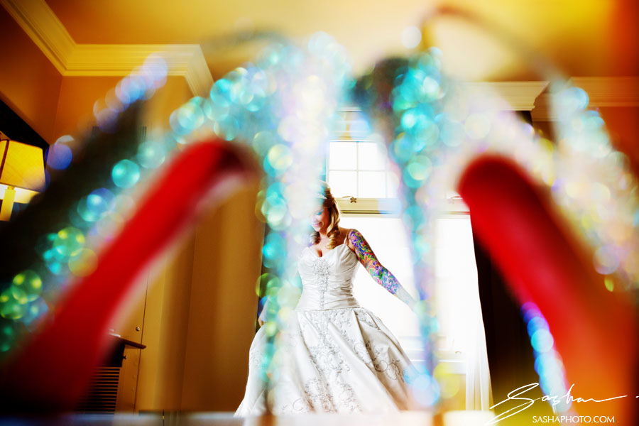 sparkly wedding shoes with red soles