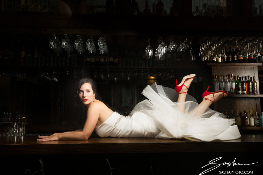 bride in red wedding shoes