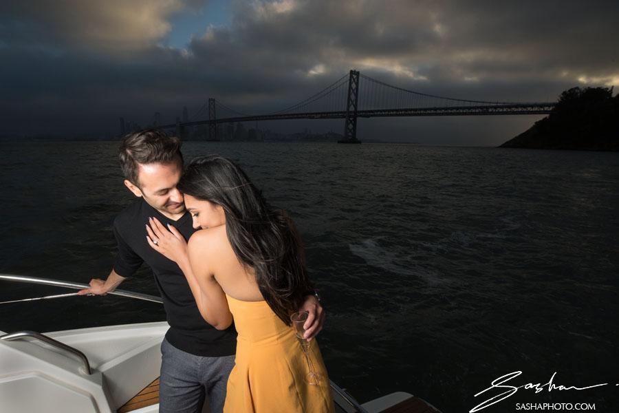 pre wedding session boat san francisco bay