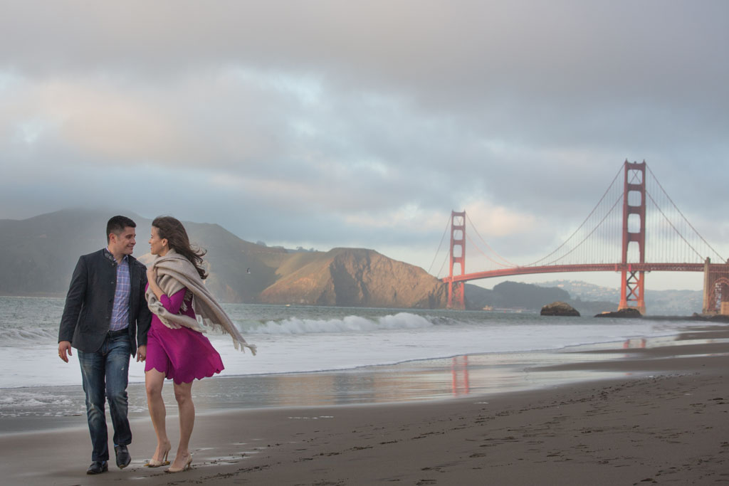 baker beach engagement