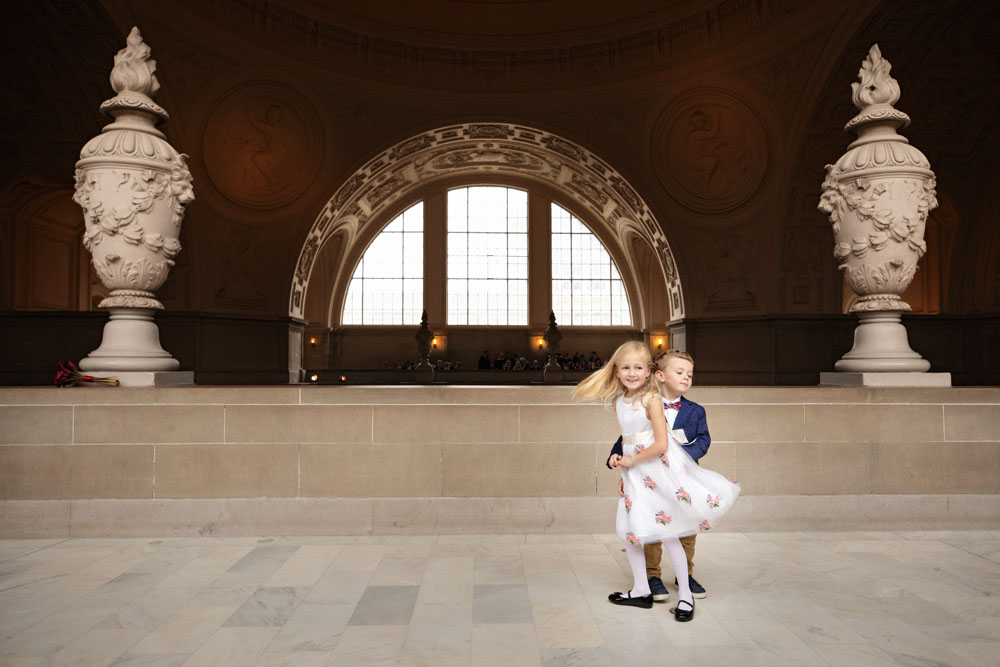 ringbearer and flower girl at city hall