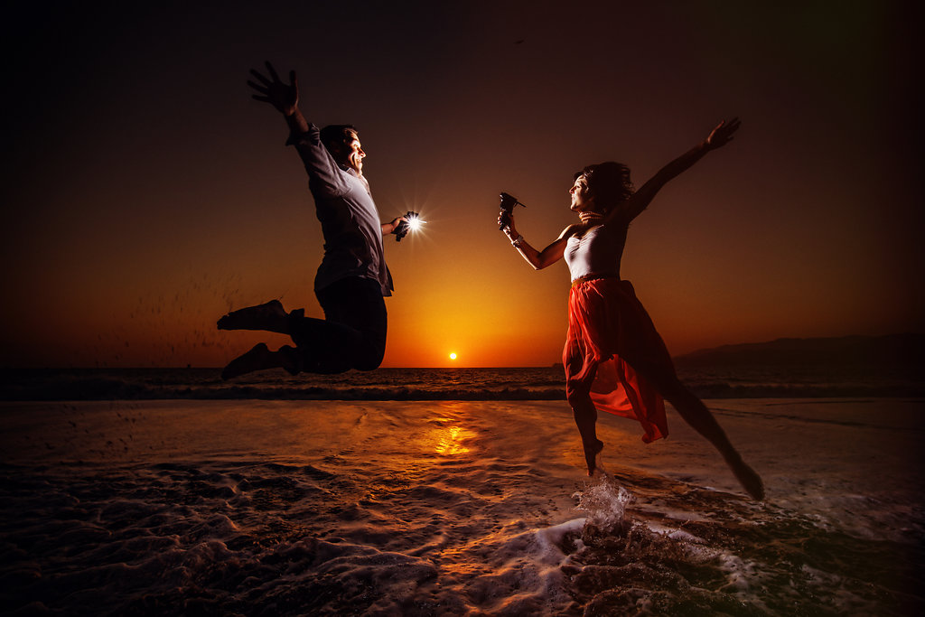 sunset engagements session