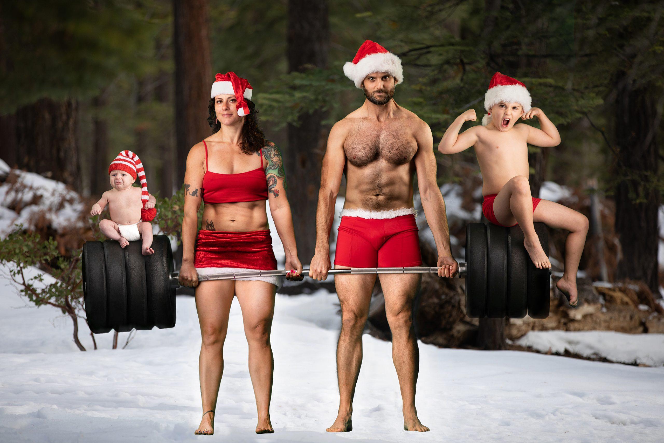 family crossfit holiday photo 2020